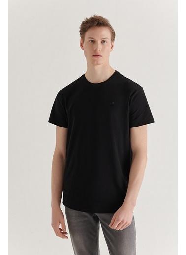Avva Erkek Bisiklet Yaka Düz Long Fit T-Shirt A11Y1180 Siyah